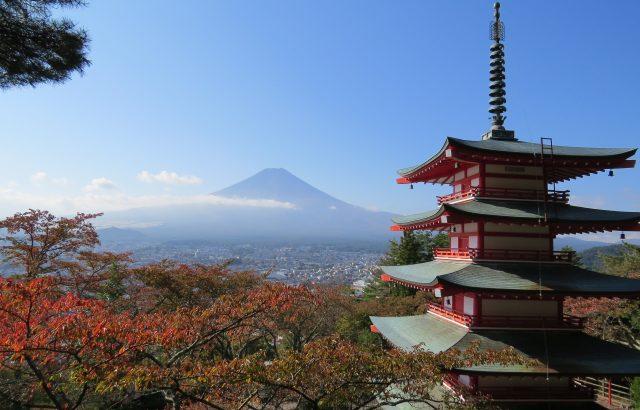 五重塔 山梨 富士山 景色