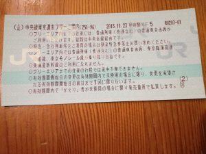 フリー乗車券 甲府 東京