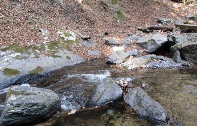 水晶の原石か?昇仙峡の渓流で子供と宝探し