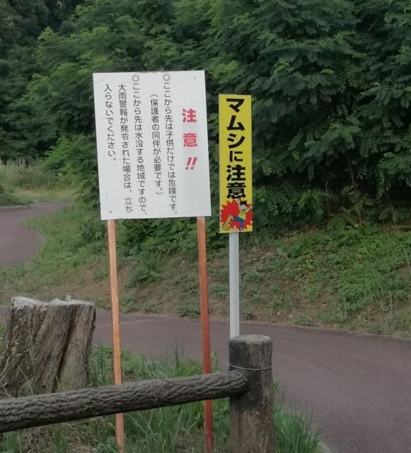 自然ゾーン入り口にあるマムシに注意の看板