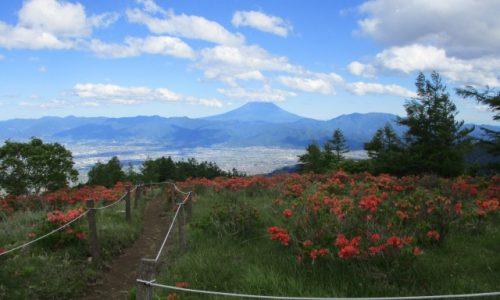 甘利山山頂から見ると周辺が赤く見える