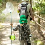 夏休みに虫取りをしている親子が森を歩く様子