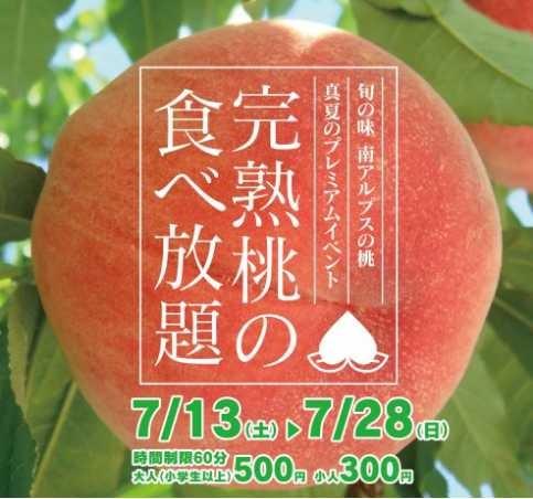 JAしらねの完熟桃食べ放題詳細のちらし