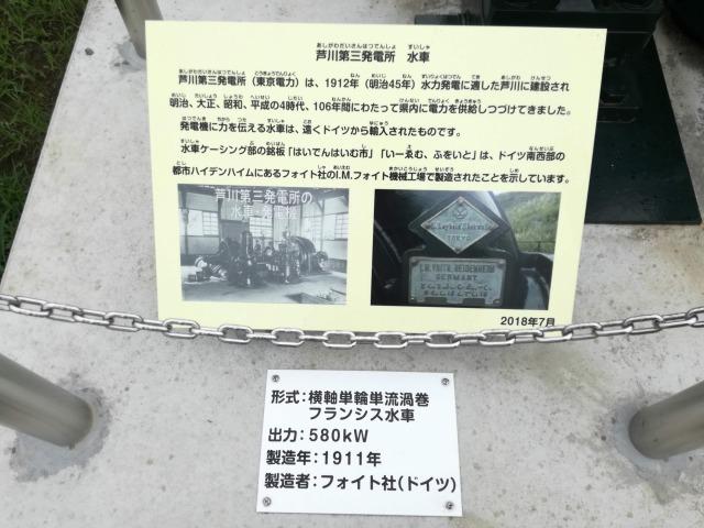ゆめソーラー館やまなしの屋外にあった水車の説明文