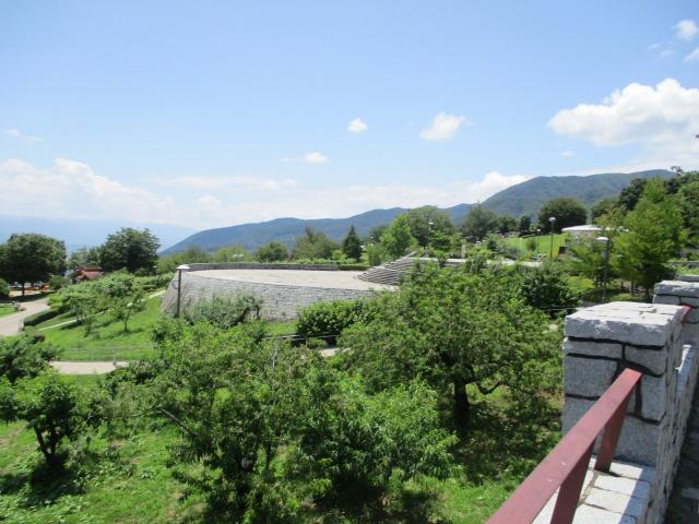 フルーツ公園の第一駐車場から見た景色