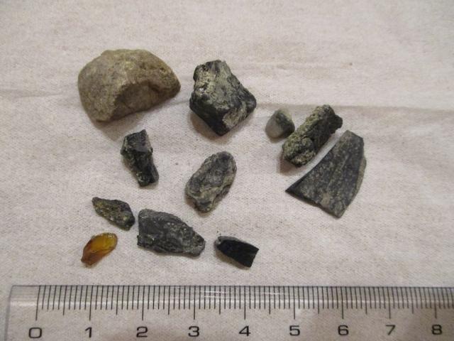 琥珀と石?木の化石など