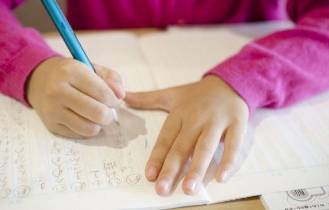 子供がノートに書き込んで勉強している様子